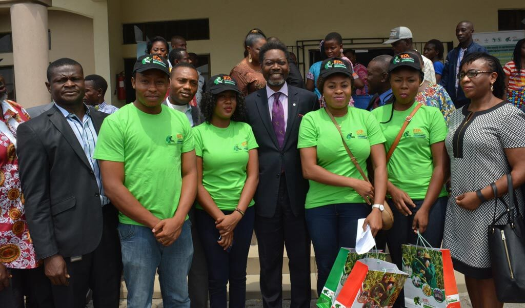 Picture of CNL General Manager Deji Haastrup with IITA Youth Agripreneurs